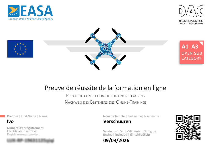 Drone licentie voor A1-A3
